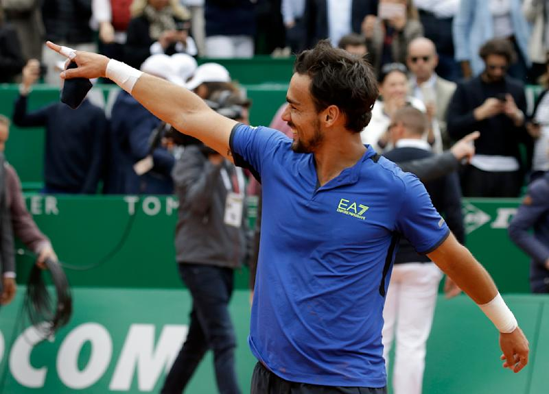 Italy's Fabio Fognini celebrates after defeating Serbia's Dusan Lajovic in the men's singles final match of the Monte Carlo Tennis Masters tournament in Monaco, Sunday, April, 21, 2019. (AP Photo/Claude Paris)