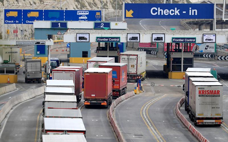 Lorries arriving at Dover  - Gareth Fuller /PA