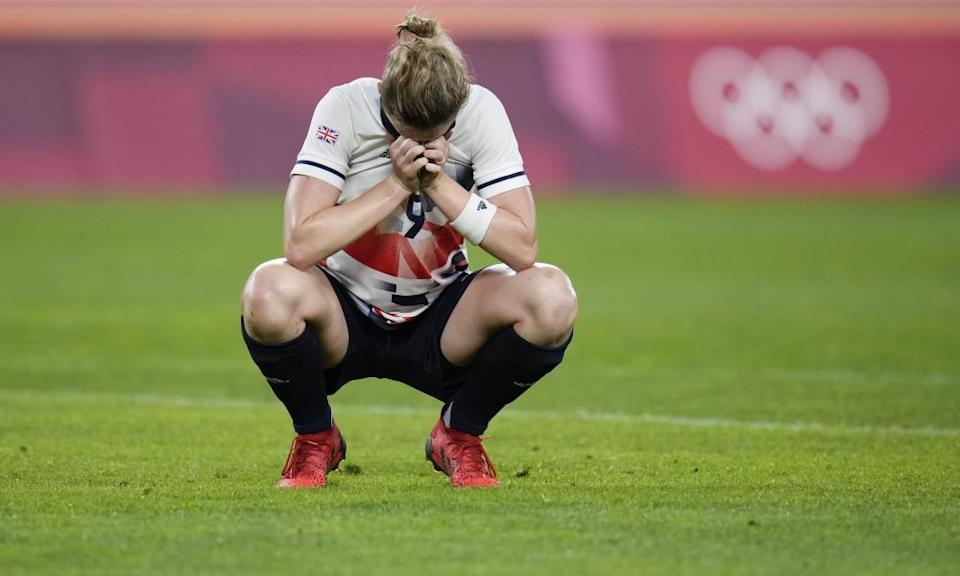 Team GB's hat-trick-scoring striker Ellen White is a picture of despair at at full-time.