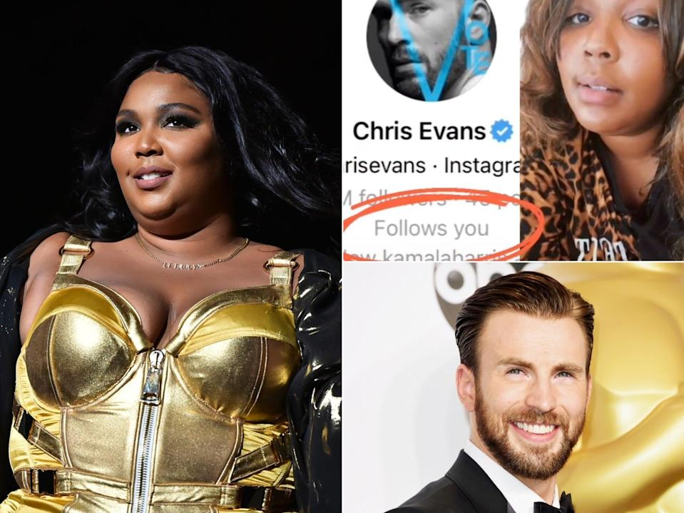 Lizzo got a follow back from Chris Evans (Getty/TikTok)