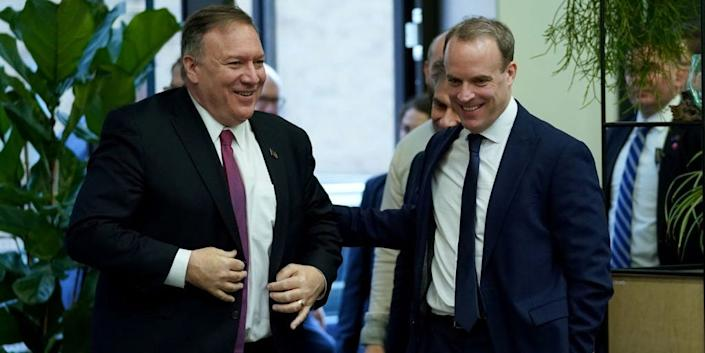 Mike Pompeo alongside UK Foreign Secretary Dominic Raab