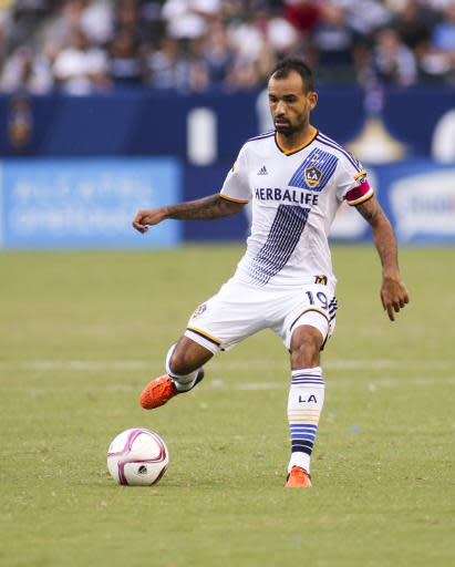 Los Angeles Galaxy midfielder Juninho (19) in action during an MLS soccer game between Los Angeles Galaxy and Portland Timbers in Carson, Calif., Sunday, Oct. 18, 2015. Timbers won 5-2. (AP Photo/Ringo H.W. Chiu)