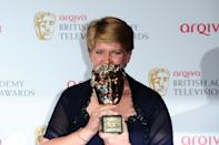 Clare Balding with the Award for Outstanding Achievement in Factual Presenting at the Arqiva British Academy Television Awards 2013 at the Royal Festival Hall, London.