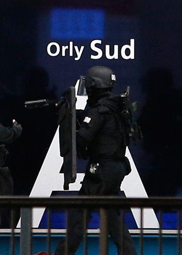 Police swepth through the Orly Airport south of Paris. Source: AP