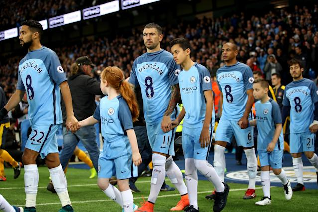 <p>Before City met Arsenal at the Etihad in 2016, players worse a Gundogan shirt in support of the injury the German suffered against Watford. </p>