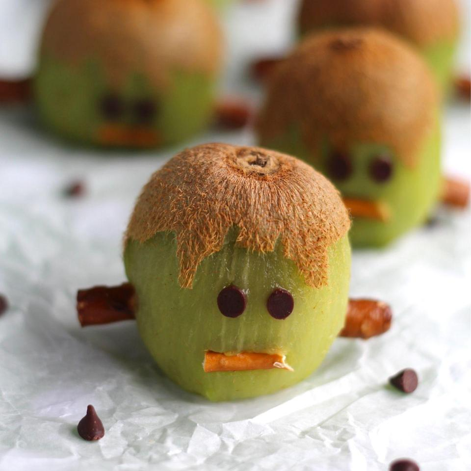 """<p>The villagers (a.k.a. your party guests) will be storming the castle in a good way when they see these darling Franken-kiwis.</p><p><a class=""""link rapid-noclick-resp"""" href=""""https://twohealthykitchens.com/frankenstein-kiwis-another-healthy-halloween-treat/"""" rel=""""nofollow noopener"""" target=""""_blank"""" data-ylk=""""slk:GET THE RECIPE"""">GET THE RECIPE</a></p>"""