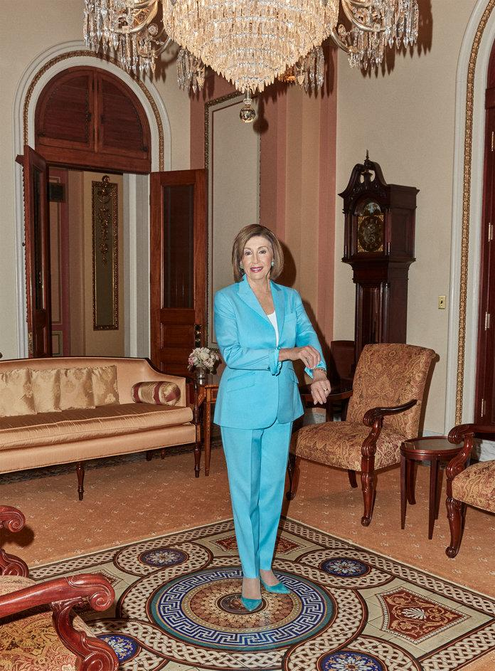 <p>Speaker Nancy Pelosi in her Ceremonial Office in the U.S. Capitol Building. Photographed by Jeremy Leibman.</p>