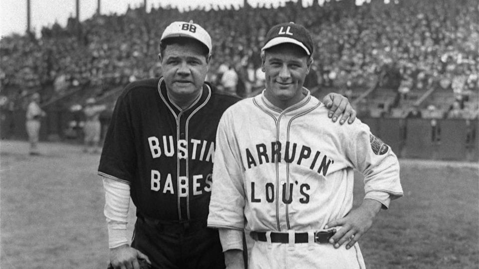 Just a few days after sweeping the Pittsburgh Pirates in the World Series, New York Yankees stars Babe Ruth, left, and Lou Gehrig pose at an exhibition game during a postseason barnstorming tour, October 1927.