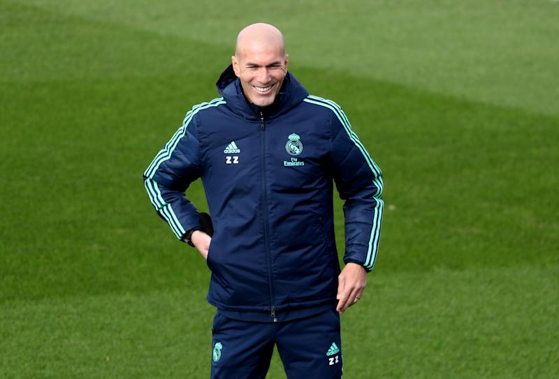 Soccer Football - Champions League - Real Madrid Training - Ciudad Real Madrid, Madrid, Spain - November 5, 2019 Real Madrid coach Zinedine Zidane during training REUTERS/Sergio Perez