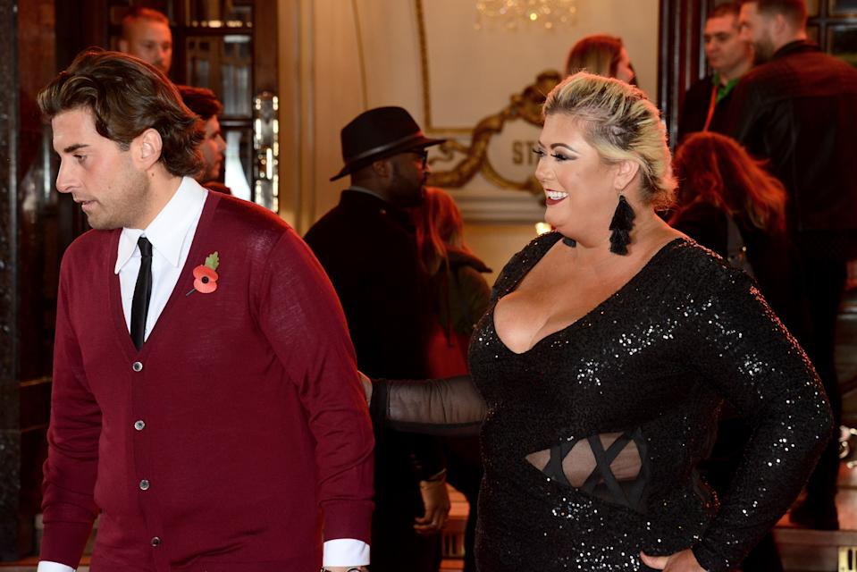 LONDON, ENGLAND - NOVEMBER 09: James Argent (L) and Gemma Collins attend the ITV Gala held at the London Palladium on November 9, 2017 in London, England. (Photo by Dave J Hogan/Dave J Hogan/Getty Images)