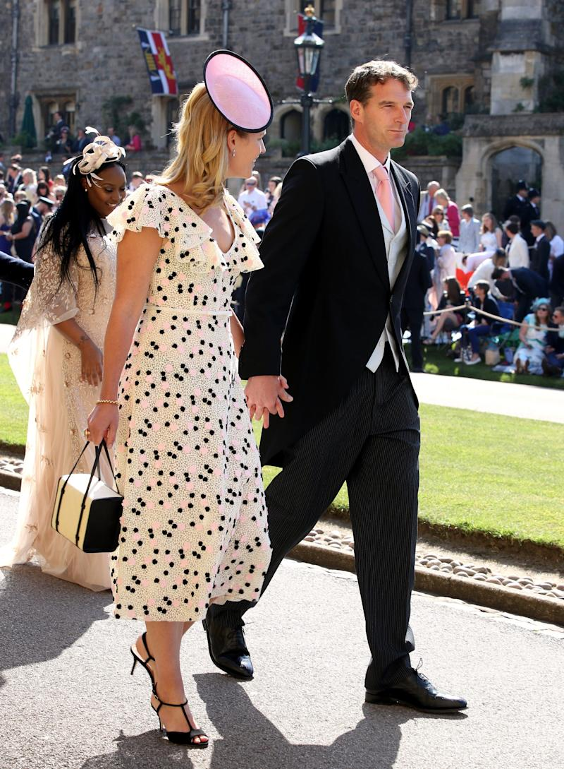 Dan Snow and Lady Edwina Louise Grosvenor arrive for the wedding ceremony of Britain's Prince Harry and US actress Meghan Markle at St George's Chapel, Windsor Castle on May 19, 2018 in Windsor, England.