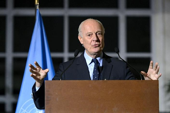 UN Syria envoy Staffan de Mistura during a press conference following a new round of negotiations of peace talks on Syria at the United Nations Office in Geneva on March 21, 2016 (AFP Photo/Fabrice Coffrini)