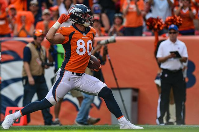 After suffering yet another ACL tear, Denver Broncos tight end Jake Butt is ready to earn his spot back this fall. (Dustin Bradford/Getty Images)