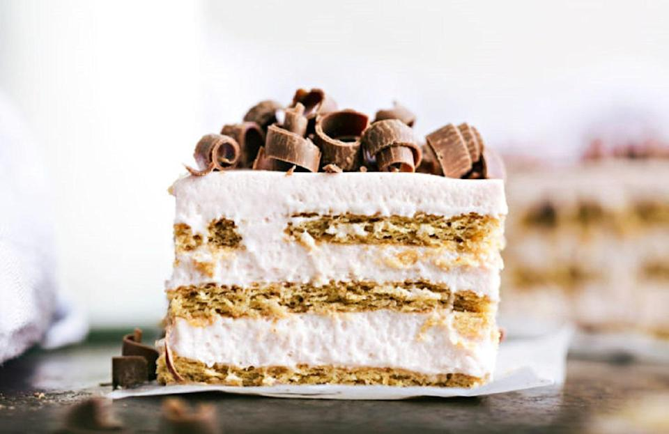 """<p>No tie-breaker needed in the decision of whether to make this <a href=""""https://www.thedailymeal.com/entertain/10-no-bake-desserts-summer-parties-slideshow?referrer=yahoo&category=beauty_food&include_utm=1&utm_medium=referral&utm_source=yahoo&utm_campaign=feed"""" rel=""""nofollow noopener"""" target=""""_blank"""" data-ylk=""""slk:icebox cake recipe"""" class=""""link rapid-noclick-resp"""">icebox cake recipe</a> or not. Alternating layers of cherries, icing and graham crackers make it a unanimous decision.</p> <p><a href=""""https://www.thedailymeal.com/best-recipes/tart-cherry-icebox-cake?referrer=yahoo&category=beauty_food&include_utm=1&utm_medium=referral&utm_source=yahoo&utm_campaign=feed"""" rel=""""nofollow noopener"""" target=""""_blank"""" data-ylk=""""slk:For the Cherry Icebox Cake recipe, click here."""" class=""""link rapid-noclick-resp"""">For the Cherry Icebox Cake recipe, click here.</a></p>"""