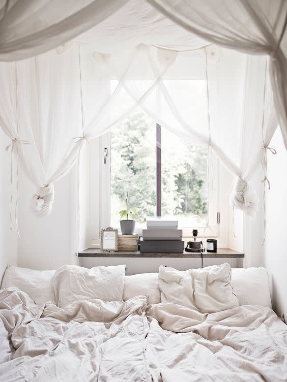 <p>This bedroom is hands down dreamy. Even the un-made bed looks magical. <i>[Photo: Pinterest]</i></p>