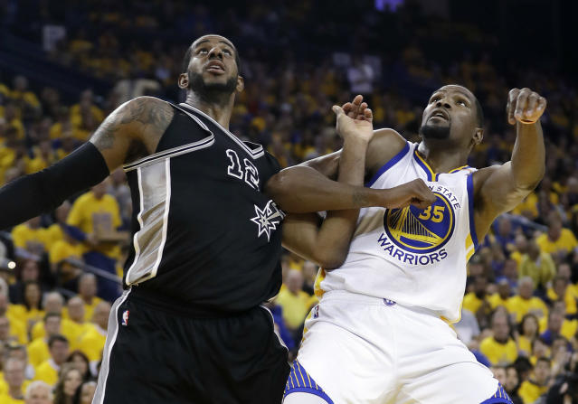 LaMarcus Aldridge (left) and Kevin Durant (right) will headline a series without Stephen Curry and Kawhi Leonard. (AP)
