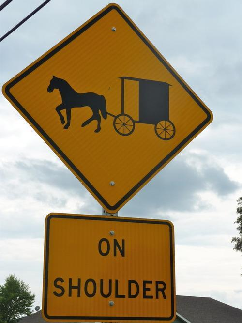 road sign in amish country