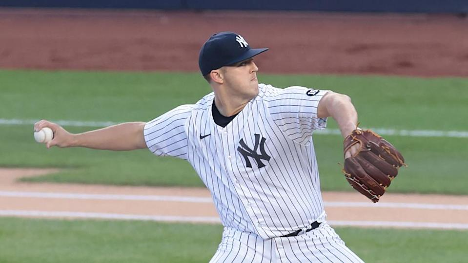 New York Yankees starting pitcher Jameson Taillon (50) delivers a pitch during the first inning against the Baltimore Orioles at Yankee Stadium.
