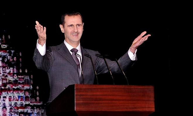 President Bashar al-Assad on Jan. 6 at the Opera House in Damascus, Syria.