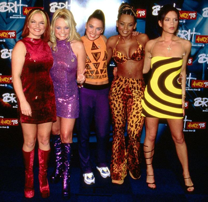 <strong>1998</strong> The Spice Girls at the Brit awards