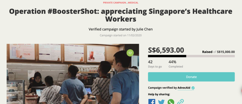 A screenshot of the Ray of Hope campaign page which seeks to raise funds to buy coffee for healthcare workers at Tan Tock Seng Hospital.