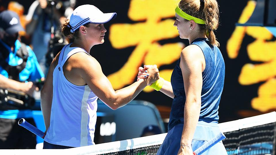 Ash Barty and Karolina Muchova, pictured here after their quarter-final clash at the Australian Open.