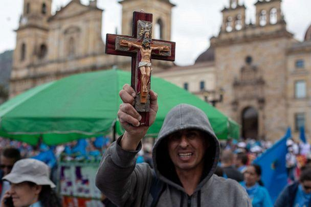 PHOTO: A supporter of the of the anti-abortion rights movement holds a cross during the 'United for Life' rally in Bogota, May 4, 2019. (Sopa Images/LightRocket via Getty Images, FILE)
