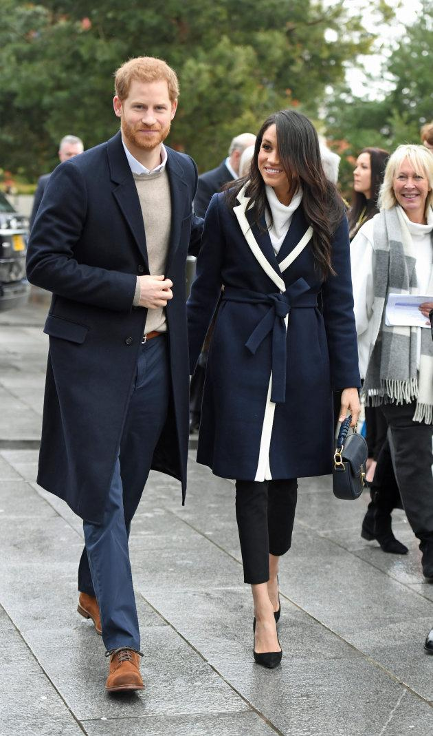 Prince Harry and Meghan Markle on a walkabout during a visit to Millennium Point in Birmingham.
