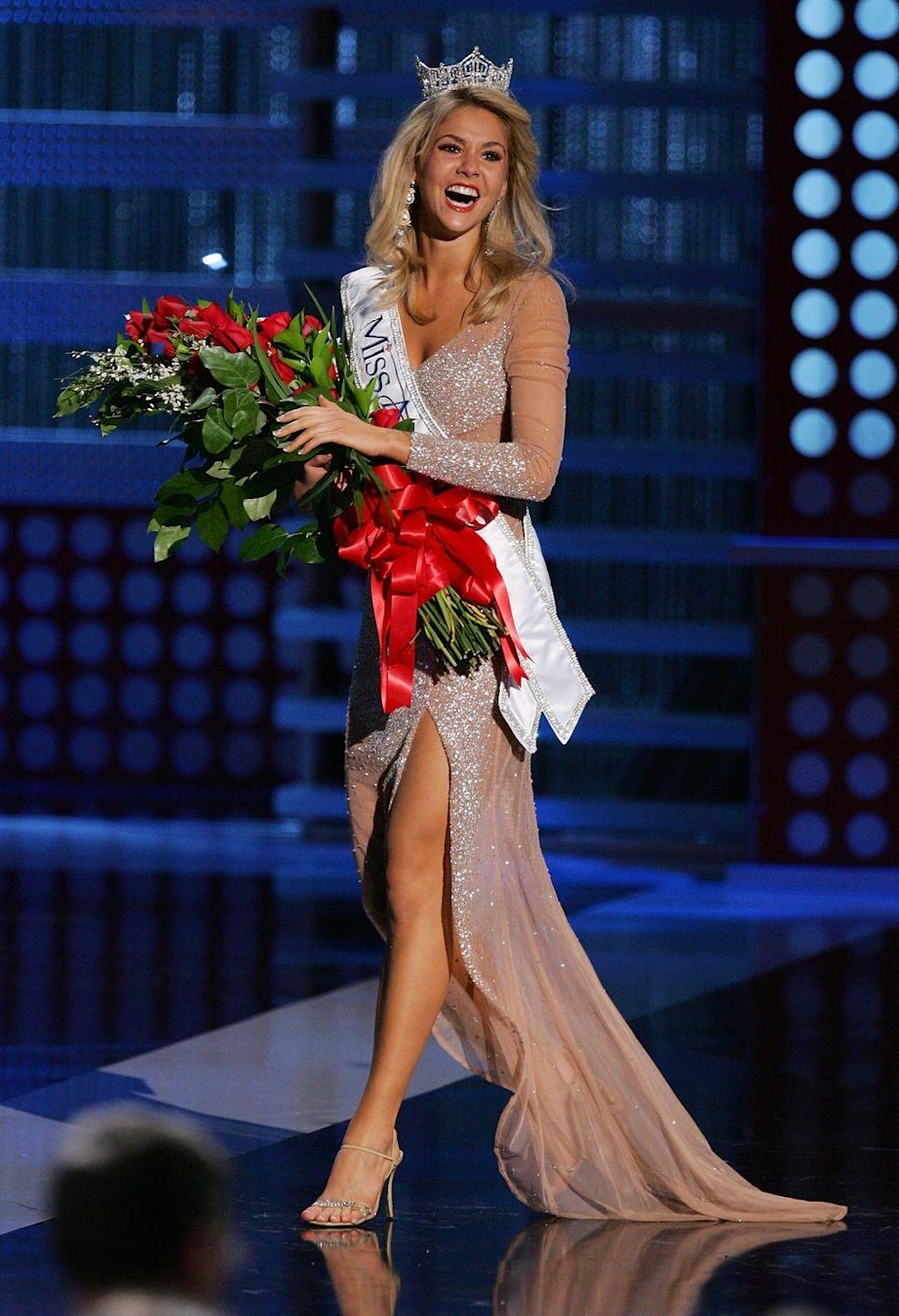<p>Michigan's Kirsten Haglund stepped out in an embellished evening gown, which perfectly matched the crown she won. </p>
