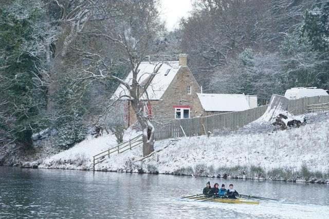 Rowers on the River Tyne at Hexham, Northumberland