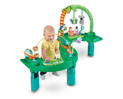 <b>Exersaucer Triple Fun - Jungle by Evenflo</b><br><br>The Exersaucer Triple Fun is the first three stage activity centre for 0-24 months and features a fun jungle theme. Stage one is a playmat (0-4 months), stage two is an exersaucer (4 months to walking) and stage three is an activity table (walking to 24 or 25 months). The three-in-one centre is portable with patented folding legs and built-in carry handle for easy travel and storage. Suggested price $139.99, recommended age birth to 24 months.