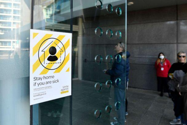PHOTO: A public notice for COVID-19 on display in Wellington, Aug. 15, 2020, in Wellington, New Zealand. (Masanori Udagawa/Getty Images)