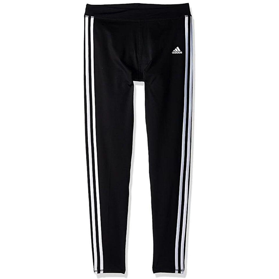 """<p><strong>adidas</strong></p><p>amazon.com</p><p><strong>$26.25</strong></p><p><a href=""""https://www.amazon.com/dp/B073QN7PGH?tag=syn-yahoo-20&ascsubtag=%5Bartid%7C10055.g.4742%5Bsrc%7Cyahoo-us"""" rel=""""nofollow noopener"""" target=""""_blank"""" data-ylk=""""slk:Shop Now"""" class=""""link rapid-noclick-resp"""">Shop Now</a></p><p>She's already got Adidas sneakers, so it only makes sense to give her matching leggings to complete the look. They're comfortable enough for everyday wear, whether she's playing in the backyard or lounging on the couch. </p>"""