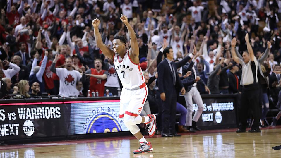 Kyle Lowry celebrates after hitting a miraculous buzzer-beater to force overtime in Game 1 of the 2016 Eastern Conference semifinals against the Miami Heat. (Steve Russell/Toronto Star via Getty Images)