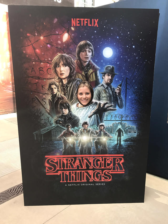 <p>Right before Comic-Con visitors entered the makeshift Hawkins, they could pose as Eleven in the <i>Stranger Things</i> poster. <br><br>(Photo: Giana Mucci/Yahoo) </p>