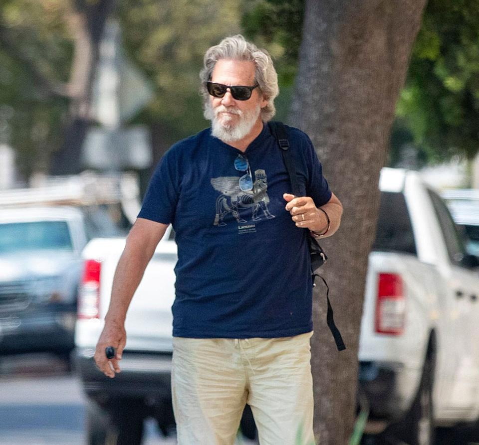Jeff Bridges looks healthy on a walk in Los Angeles after sharing a positive health update.