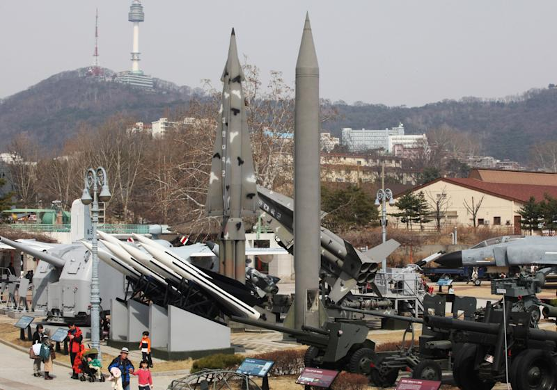 Models of a mock North Korea Scud-B missile, center right, and other South Korean missiles are displayed at Korea War Memorial Museum in Seoul, South Korea, Sunday, March 17, 2013. A South Korean military official said Saturday North Korea launched what appeared to be KN-02 missiles last week during its own drills. He won't say on what day it happened. (AP Photo/Ahn Young-joon)