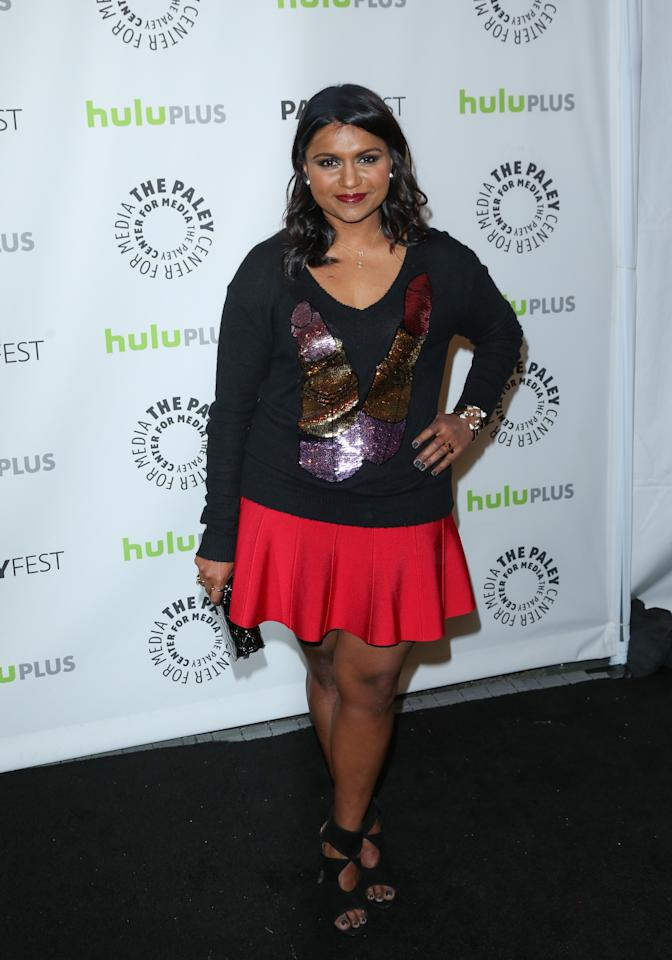 "BEVERLY HILLS, CA - MARCH 08:  Actress Mindy Kaling attends the 30th Annual PaleyFest featuring the cast of ""The Mindy Project"" at the Saban Theatre on March 8, 2013 in Beverly Hills, California.  (Photo by Paul Archuleta/FilmMagic)"