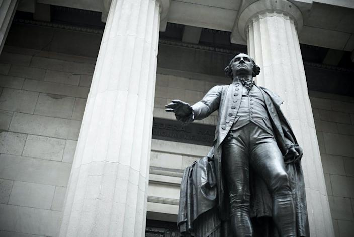 """<span class=""""caption"""">President George Washington aimed to unify the country with his first Thanksgiving message.</span> <span class=""""attribution""""><a class=""""link rapid-noclick-resp"""" href=""""https://www.gettyimages.com/detail/photo/george-washington-statue-royalty-free-image/98843590?adppopup=true"""" rel=""""nofollow noopener"""" target=""""_blank"""" data-ylk=""""slk:Getty Images"""">Getty Images</a></span>"""