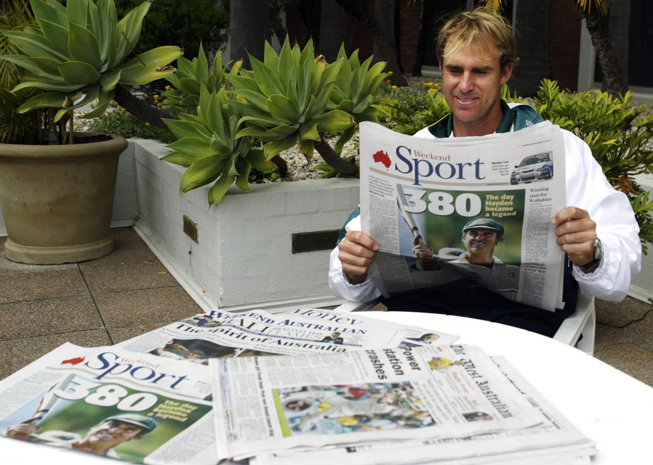 PERTH, AUSTRALIA - OCTOBER 11:  Matthew Hayden of Australia reflects on his record breaking score of 380 at the Hyatt Hotel on October 11, 2003 in Perth, Australia.  (Photo by Hamish Blair/Getty Images)