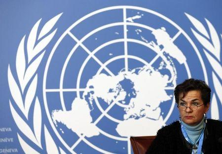 Christiana Figueres, Executive Secretary of the United Nations Framework Convention on Climate Change (UNFCCC), listens during a news conference after a week long preparatory meeting at the U.N. in Geneva February 13, 2015. REUTERS/Denis Balibouse