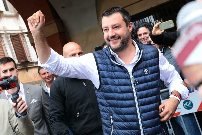 """Italian Deputy Premier and Interior Minister, Matteo Salvini, attends an election campaign rally in Sassuolo, Italy, Sunday, May 19, 2019. Salvini, the head of Italy's right-wing League party, has positioned himself at the forefront of a growing movement of nationalist leaders seeking to free the European Union's 28 nations from what he called Brussels' """"illegal occupation"""". (Serena Campanini/ANSA via AP)"""