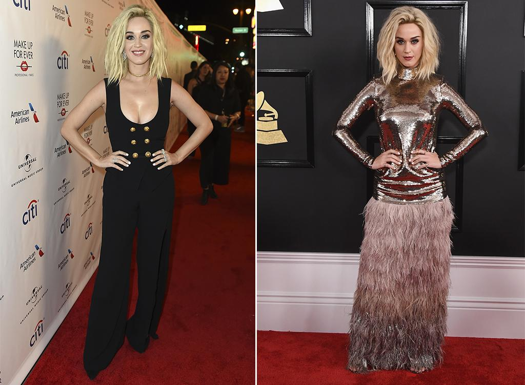 "<p>Katy Perry arrived at the Grammys wearing a unique, feather-adorned Tom Ford creation (pictured right). Yahoo Style users voted it one of the worst looks of the night. After the show ended, the ""Chained to the Rhythm"" singer slipped into a black two-piece ensemble that was the complete opposite of her first look. It's not exactly the party style we typically see from the music superstar, but we guess it's in line with her new focus on creating <a rel=""nofollow"" href=""https://www.yahoo.com/news/katy-perry-proclaims-era-purposeful-174700546.html"">""purposeful pop.""</a> What do you make of Katy's outfit change: Roar or bore? (Photo: AP/Getty Images) </p>"