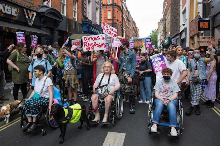 Thousands of people at the London Trans+ Pride march on June 26, 2021. / Credit: Mark Kerrison/In Pictures via Getty