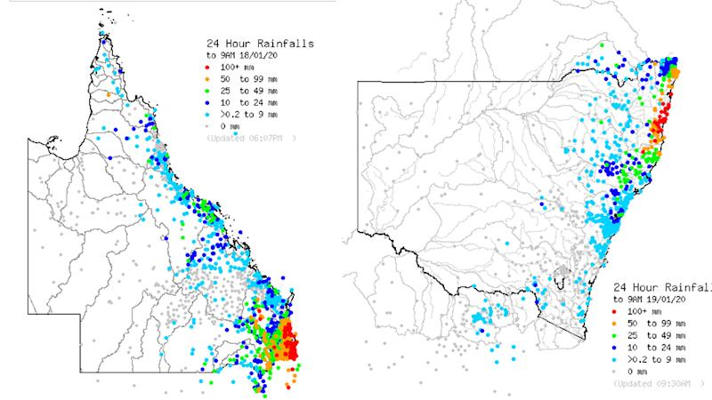 Rainfall expected over the next 24 hours in QLD (left) and NSW (right)