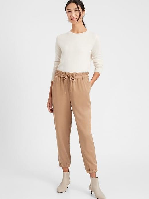 <p>We think this <span>Banana Republic Tencel Paperbag Jogger</span> ($49, originally $90) is oh-so-stylish with ankle booties.</p>