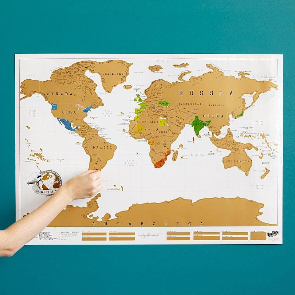 <p>They can check off all the places you've traveled to with this <span>scratch map</span> ($26).</p>