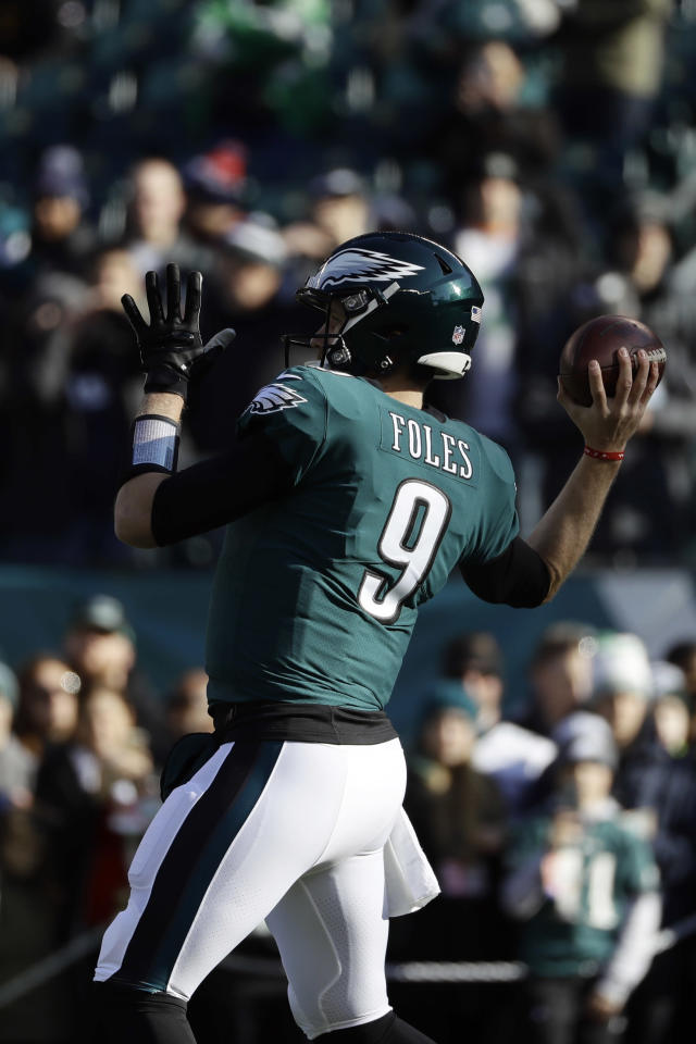 Philadelphia Eagles' Nick Foles warms up before an NFL football game against the Houston Texans, Sunday, Dec. 23, 2018, in Philadelphia. (AP Photo/Michael Perez)