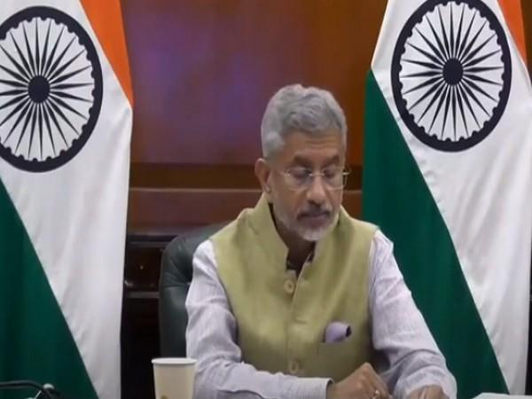 External Affairs Minister S Jaishankar speaking at the 15th CII-Exim Bank digital conclave on India-Africa Project Partnership. Photo/ANI