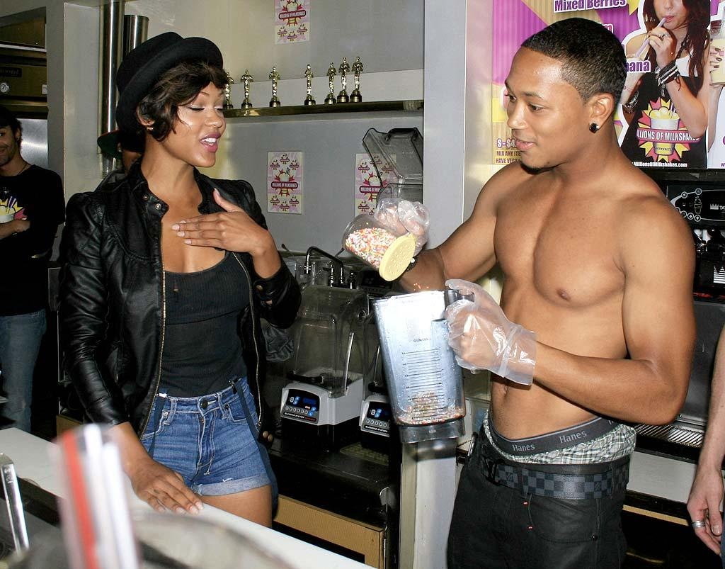 """Master P's son received a little help from actress Meagan Good in making his special Birthday Cake Shake, consisting of French vanilla ice cream, cookie dough, and sprinkles. Perez/<a href=""""http://www.x17online.com"""" target=""""new"""">X17 Online</a> - August 19, 2010"""